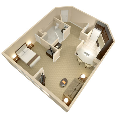 A three dimensional rendering of the Accessible One Bedroom Suite; perspective from above.