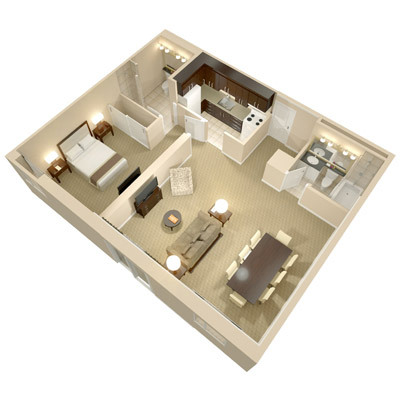 A three dimensional rendering of the Boardroom One Bedroom Suite; perspective from above.