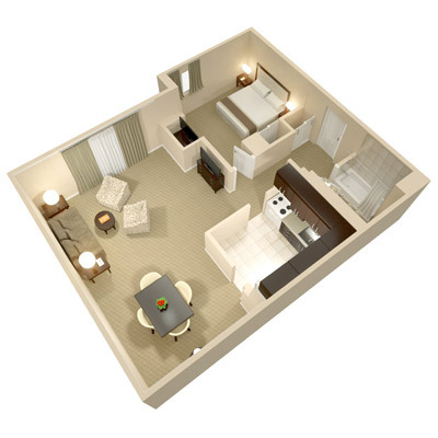 A three dimensional rendering of the Luxury One Bedroom Suite; perspective from above.
