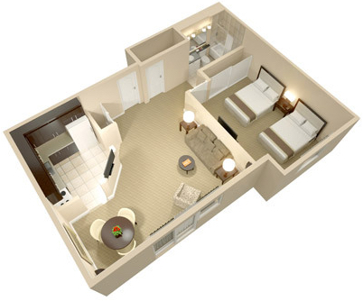 A three dimensional rendering of the Queen One Bedroom Suite; perspective from above.