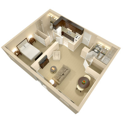 A three dimensional rendering of the Superior One Bedroom Suite; perspective from above.