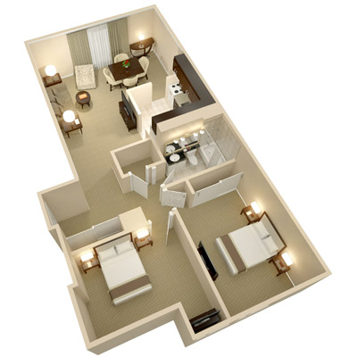 A three dimensional rendering of the Two Bedroom Suite; perspective from above.