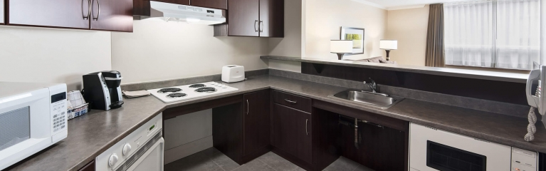 The large kitchen in an accessible one bedroom suite at Albert at Bay