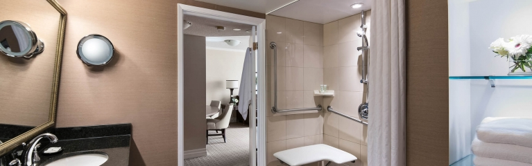 Albert at Bay Accessible one bedroom suite spatious bathroom