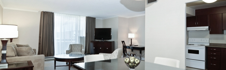 The large living room in Albert at Bay's superior king one bedroom suite