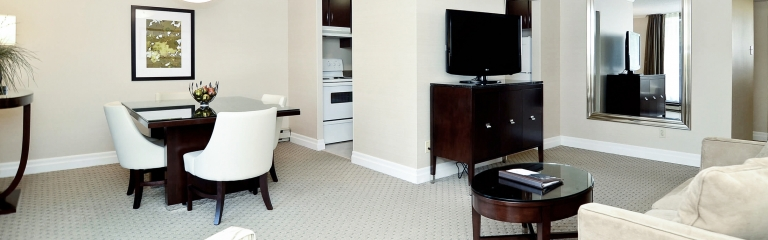 Large lounge area in a two bedroom suite at Albert at Bay