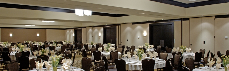 Large event space decorated for an event at Albert at Bay